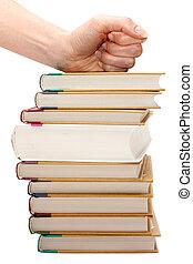 feminina, punho, ligado, pilha, de, a, livros