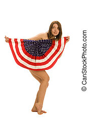 femininas, americano, atraente, bandeira, patriota