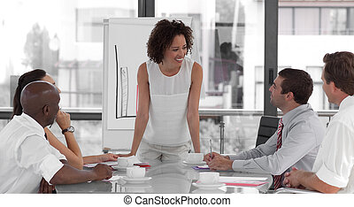 femininas, apresentação, negócio, dar, mulher