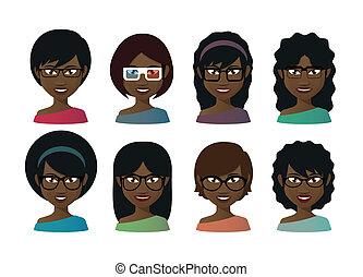 femininas, avatars, vidros desgastando