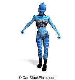 femininas, azul, fantasia, alien., 3d, fazendo, com, caminho cortante, e, sombra, sobre, branca