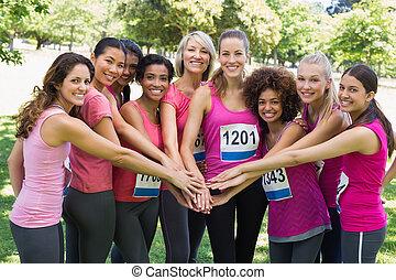femininas, câncer peito, corredores maratona, empilhando...
