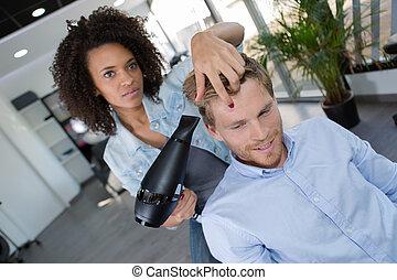 femininas, cabeleireiras, secar, dela, macho, fregueses, cabelo