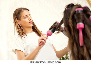 femininas, cabeleireiras, secar, mulher, cabelo
