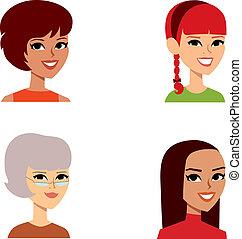 femininas, caricatura, retrato, avatar, jogo