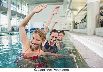 femininas, classe aptidão, fazendo, aqua, aeróbica