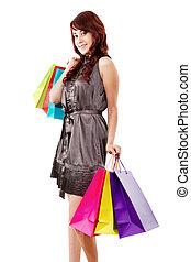 femininas, comprador, feliz