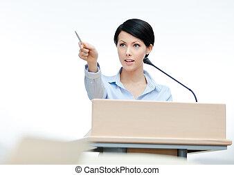 femininas, conferencista, em, a, podium., conferência...