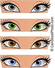 femininas, cor, olhos, olhar, em, a, rosto