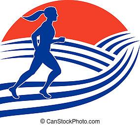 femininas, corredor, executando, maratona