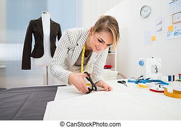 femininas, desenhista moda, corte, tecido