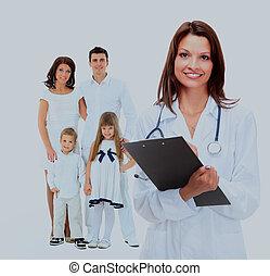 femininas, doutor familiar, family., fundo, feliz