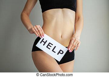 femininas, edições, dor período, digestivo, desordens, adelgaçar, segurando, stomach., panties, palavra, closeup, branca, saúde, problem., concept., ajuda, dela, ajustar, mulher, cartão, corporal