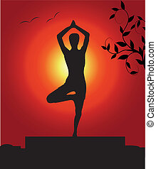 femininas, em, um, ioga posa