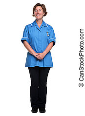 femininas, enfermeira, isolado, branco