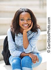 femininas, faculdade, jovem, estudante, africano