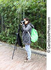 femininas, fotógrafo, com, tripé