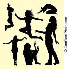 femininas, gesto, ação, silueta