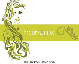 femininas, hairstyle., decorativo, bandeira