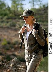 femininas, hiker, em, a, selva