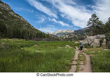 femininas, hiker, ligado, a, filhote, lago, trailhead, em, rochoso, muntain, nacional