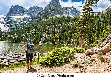 femininas, hiker, olhar, odessa, lago