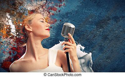 femininas, imagem, cantor