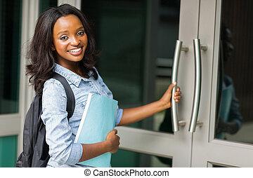 femininas, ir, estudante universitário, africano, corredor conferência
