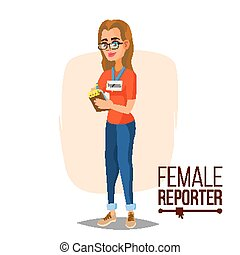 femininas, jornalista, vector., microphone., profissional,...