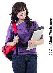 femininas, jovem, estudante