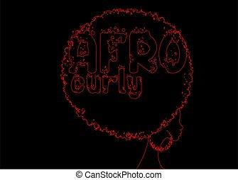 femininas, linha, mão, vetorial, pele, mulheres, tradicional, rosto, escuro, texto, estilo, cabelo, grunge, africano, conceito, pretas, retrato, desenho, vermelho, isolado, cabelo, afro, étnico, afro, brincos, , cacheados