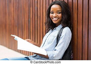 femininas, livro, estudante universitário, africano, leitura