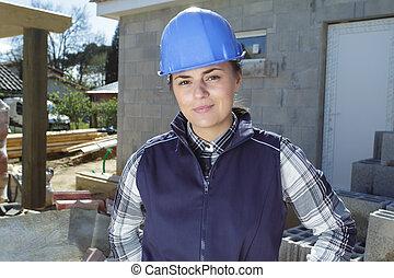 femininas, local construção, construtor