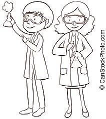 femininas, macho, cientistas