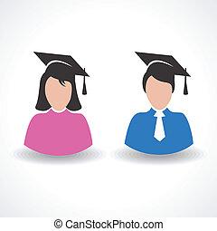 femininas, macho, graduado, estudante