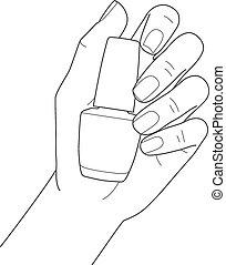 femininas, manicure, mão, prego, segurando, polaco