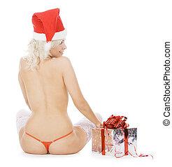 femininas, maravilhoso, santa, meias, chapéu branco, natal