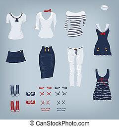 femininas, marinha, jogo, de, roupas