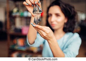 femininas, mestre, com, alicates, fazer, feito à mão, brincos