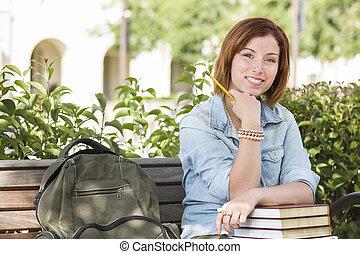 femininas, mochila, jovem, banco, estudante, campus
