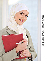 femininas, muçulmano, caneta, caderno, estudante, caucasiano
