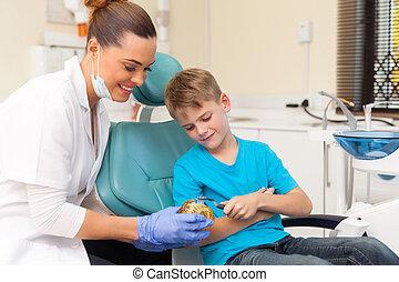 femininas, odontólogo, ensinando, menino jovem, como, escovar, dentes