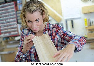 femininas, oficina, carpinteiro, dela