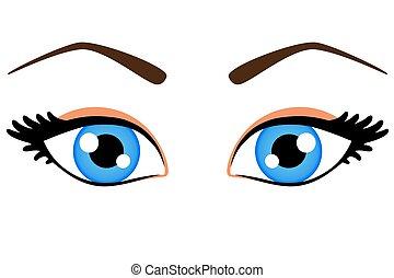 femininas, olhos azuis
