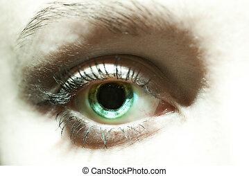 femininas, olhos azuis, com, dilatado, pupilas, fim