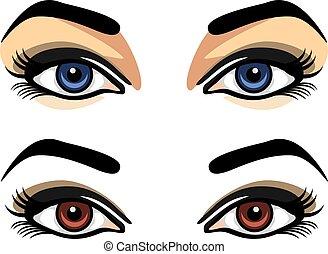 femininas, olhos, azul, marrom