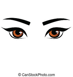 femininas, olhos, marrom