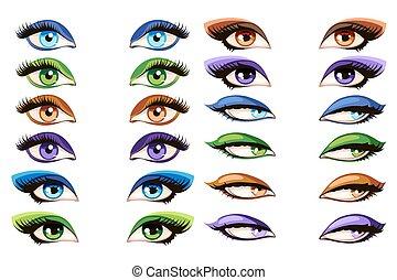 femininas, olhos, vetorial