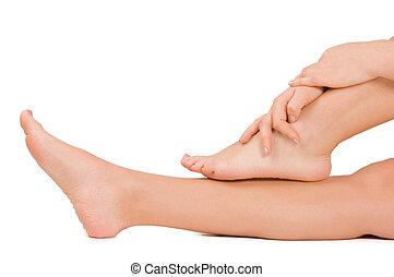 femininas, pés, isolado, branco, fundo