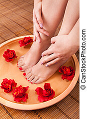 femininas, pés, obtendo, aroma, terapia